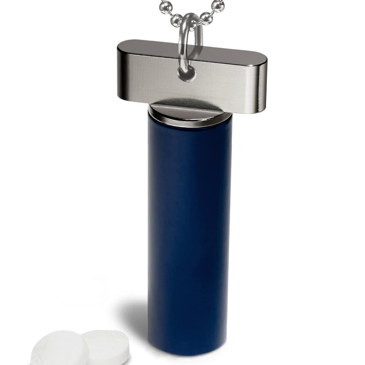Navy & Stainless Steel Pill Holder