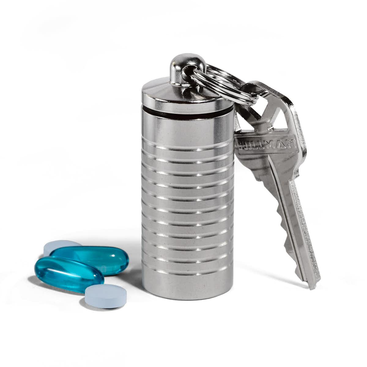 Wide Single Chamber Pill Holder in Stainless Steel
