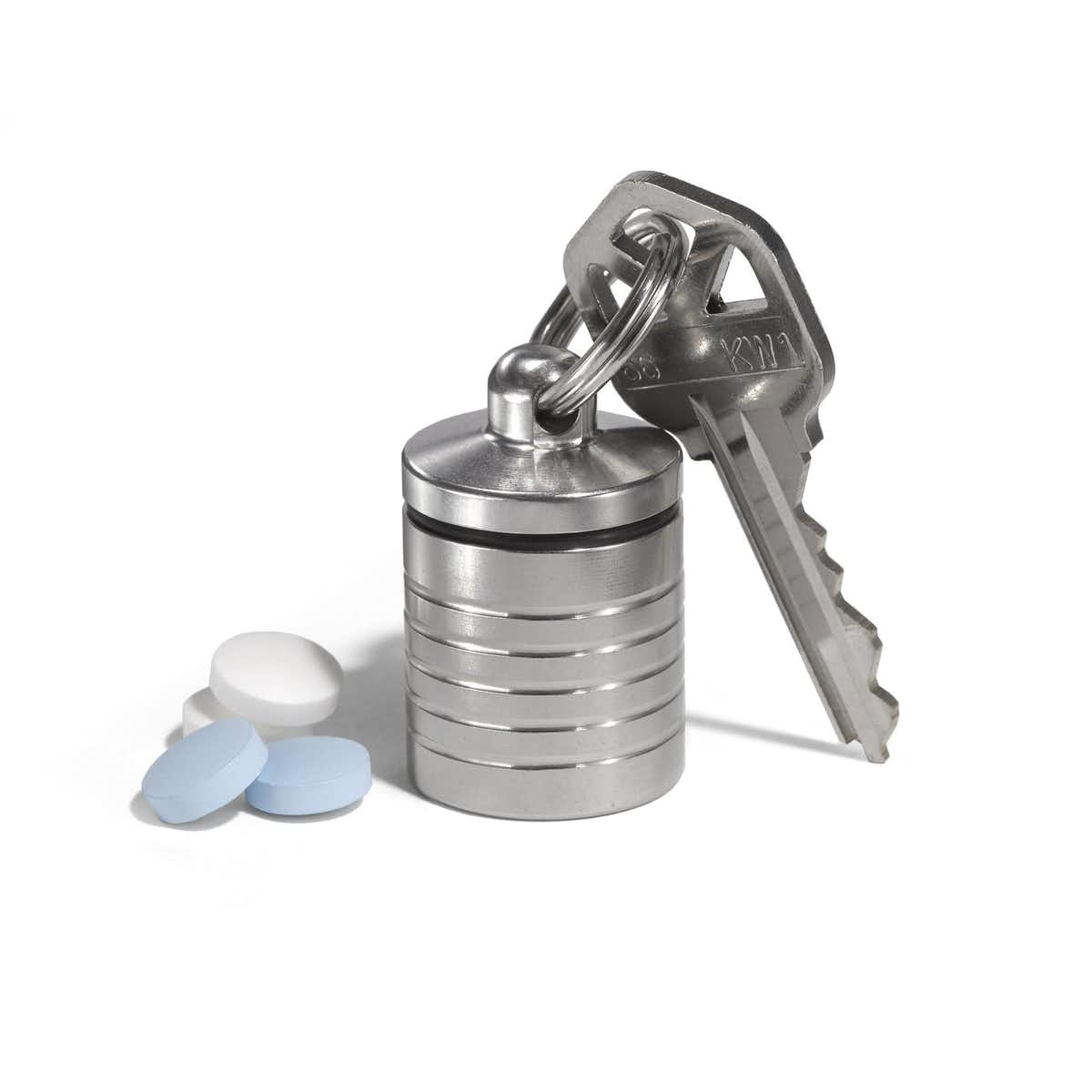 Wide Compact Single Chamber Pill Holder in Stainless Steel