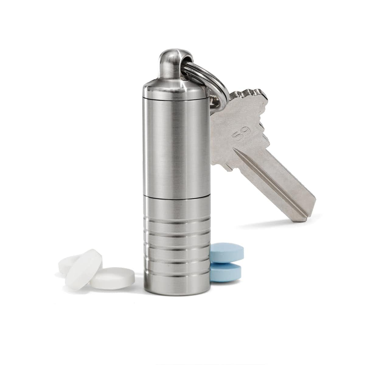 Slim Dual Chamber Pill Holder in Stainless Steel
